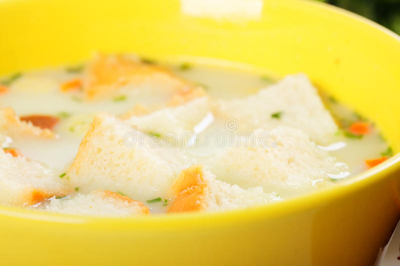 Cheese cream soup closeup royalty free stock images