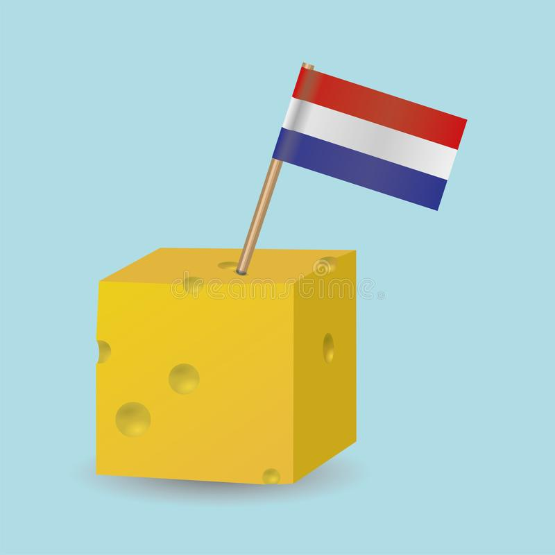 A cheese cube with a Dutch flag vector illustration