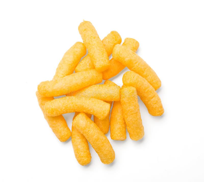 Cheese curls isolated. On a white background. With clipping path royalty free stock photo
