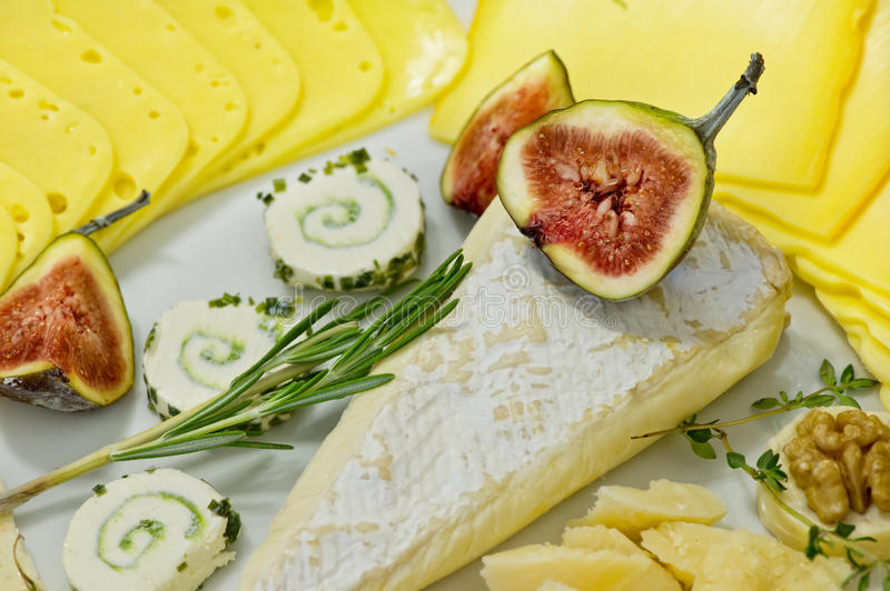 Cheese and figs royalty free stock photos