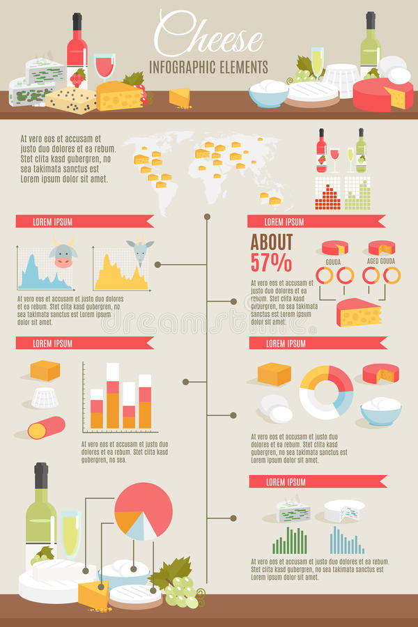 Cheese Flat Infographic Set royalty free illustration