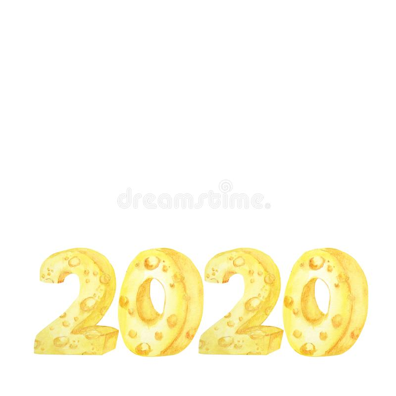 2020 cheese font. Hand drawn watercolor illustration. Happy Chinese rat new year royalty free stock image