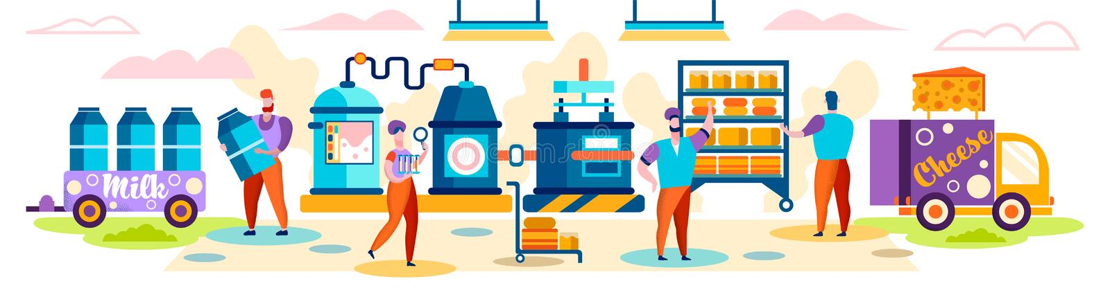 Cheese Food Production Factory. Delivery to Shop royalty free illustration