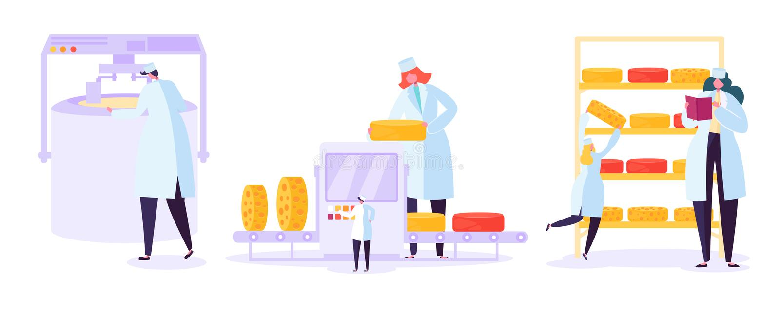 Cheese Food Production Factory Set. Commercial Character Making Dairy Machinery Process in Metal Tank. Milk Ripening stock illustration