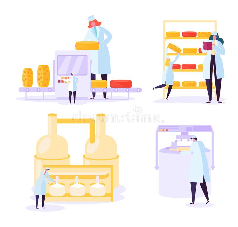 Cheese Food Production Industry Collection. Commercial Character Making Dairy Machinery Pasteurization Process stock illustration