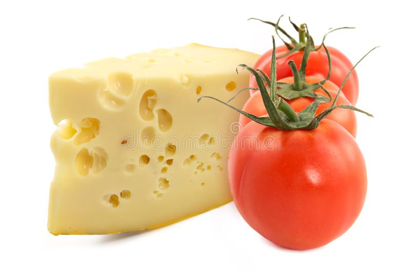 Cheese and fresh tomatoes royalty free stock photography