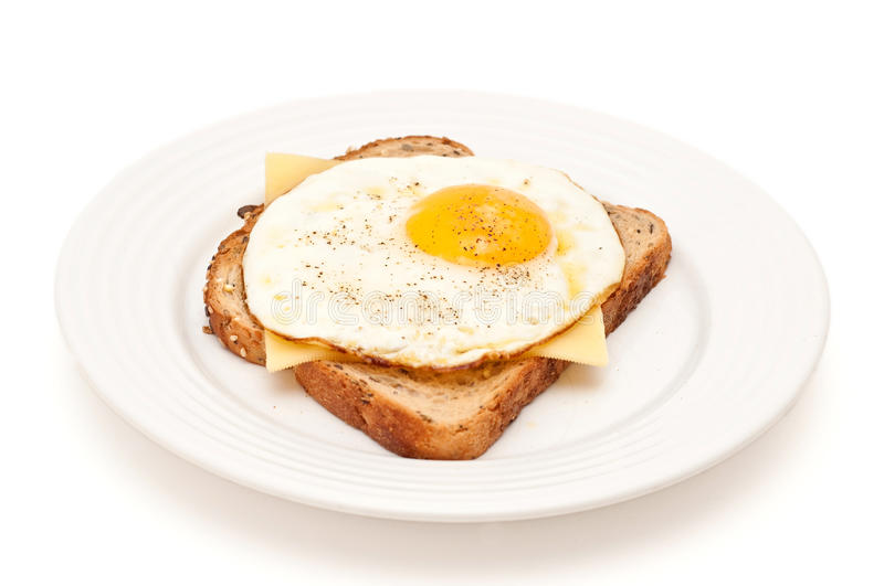 Cheese and fried egg on a toast isolated royalty free stock images