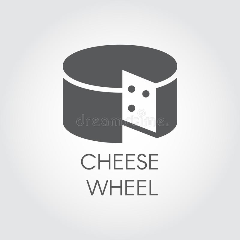 Cheese glyph icon. Dairy product black flat label. Natural healthy food logo. Vector illustration for cooking theme. Cheese wheel glyph icon. Dairy product black royalty free illustration