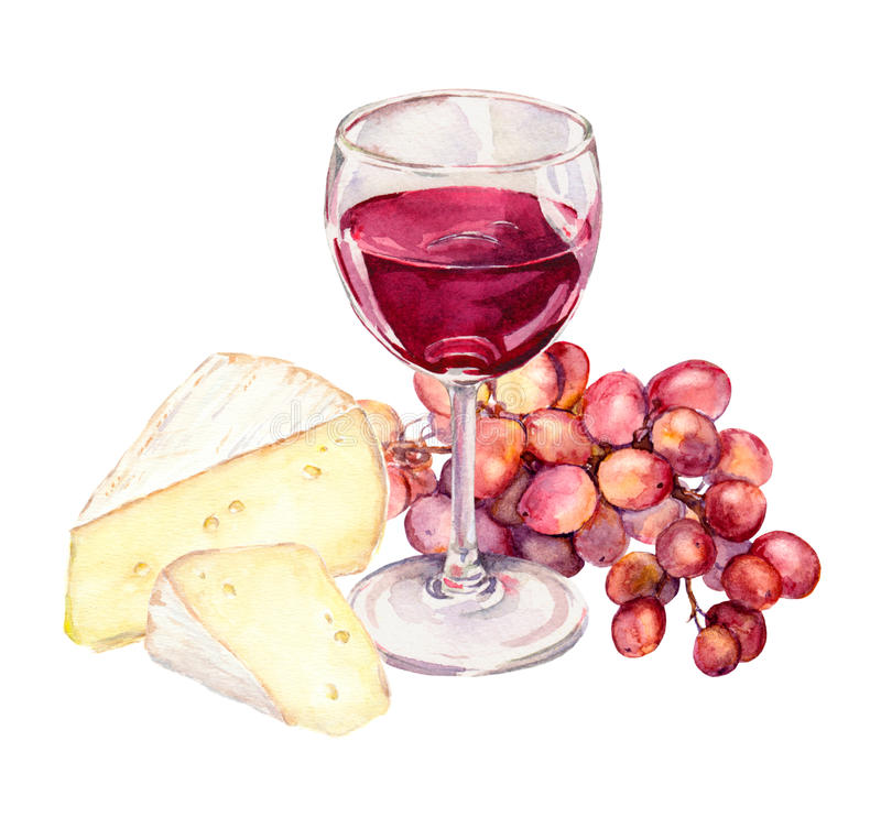 Cheese, grape and red wine glass. Watercolour royalty free illustration