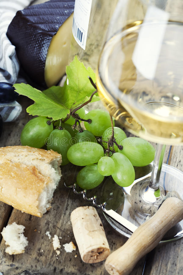 Cheese, grape and wine royalty free stock photo