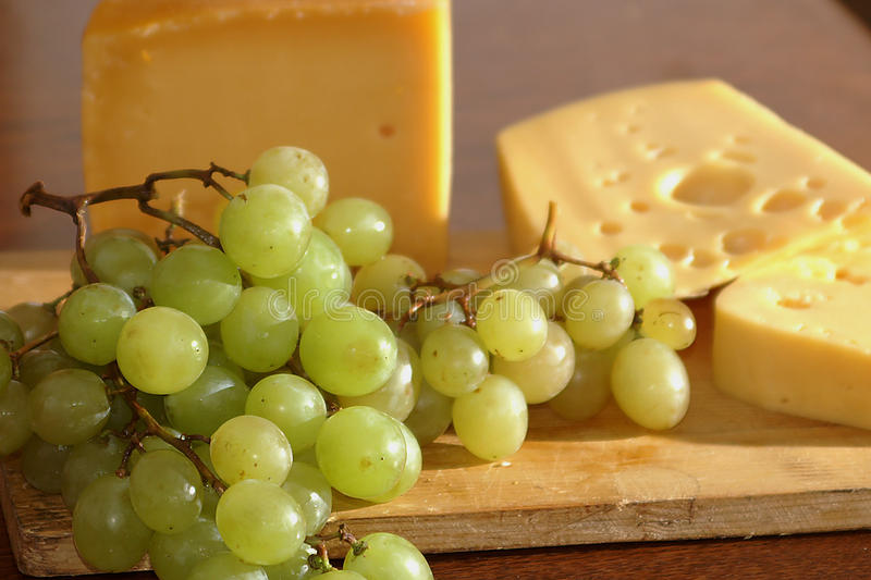 Cheese, grapes, breakfast, eating stock photo