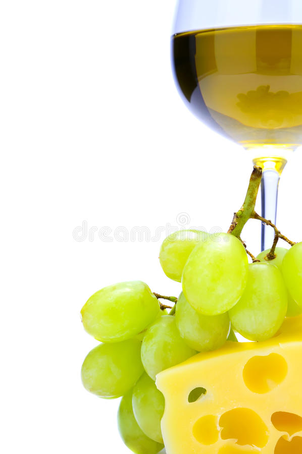 Cheese, grapes, wine