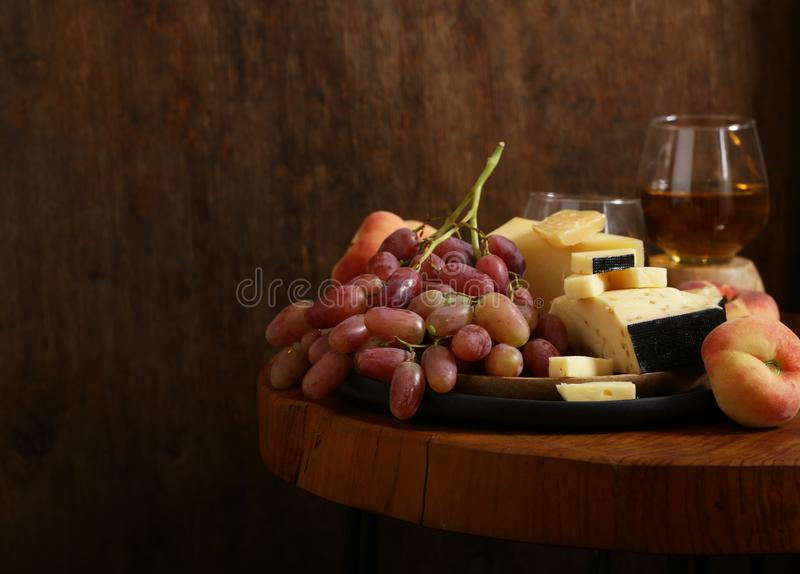 Cheese, grapes and wine royalty free stock photography
