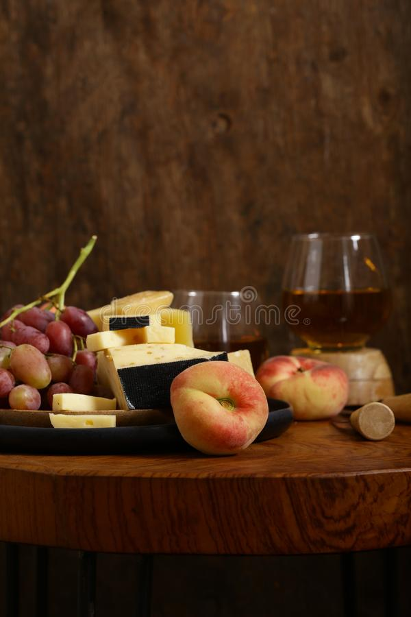 Cheese, grapes and wine royalty free stock images