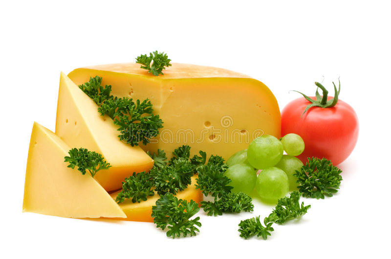 Cheese and greens. On white background stock photos