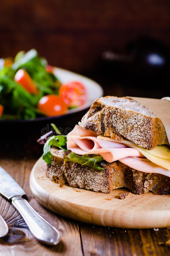 Cheese And Ham Sandwich With Fresh Vegetables And ...