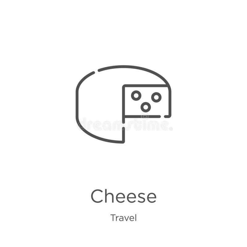 Cheese icon vector from travel collection. Thin line cheese outline icon vector illustration. Outline, thin line cheese icon for. Cheese icon. Element of travel vector illustration