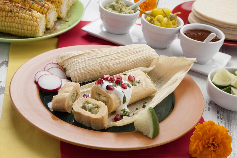 Cheese and Jalapeno Tamales royalty free stock image