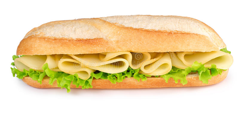 Cheese and lettuce sub. Isolated on white background stock image