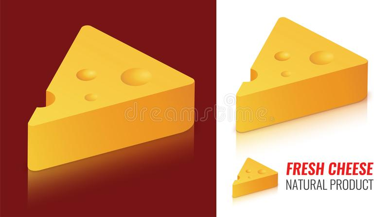 Cheese Logo Emblem on Dark and White background with Caption. Vector Logo Illustration of Swiss Maasdam Cheese Dairy Product in Isometric Beautiful Style royalty free illustration
