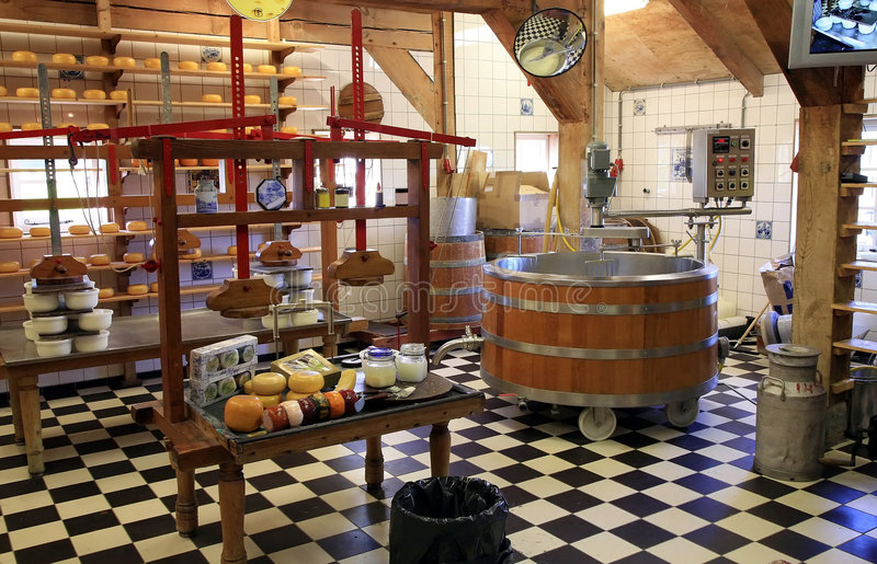 Cheese manufacture in Netherlands.