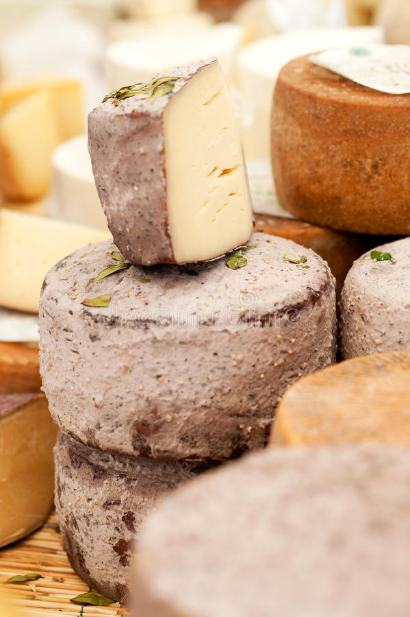 Cheese at a market stock photography