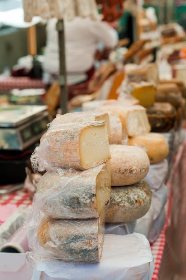 Cheese on the market stock photos