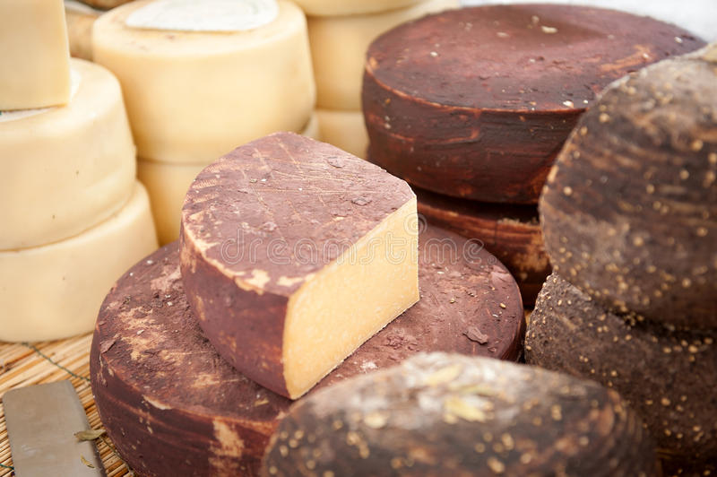 Cheese at a market royalty free stock photography
