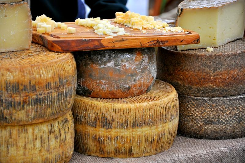 Cheese market in Florence, Italy stock images