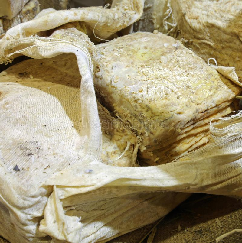 Cheese matured in caves exposed royalty free stock photos
