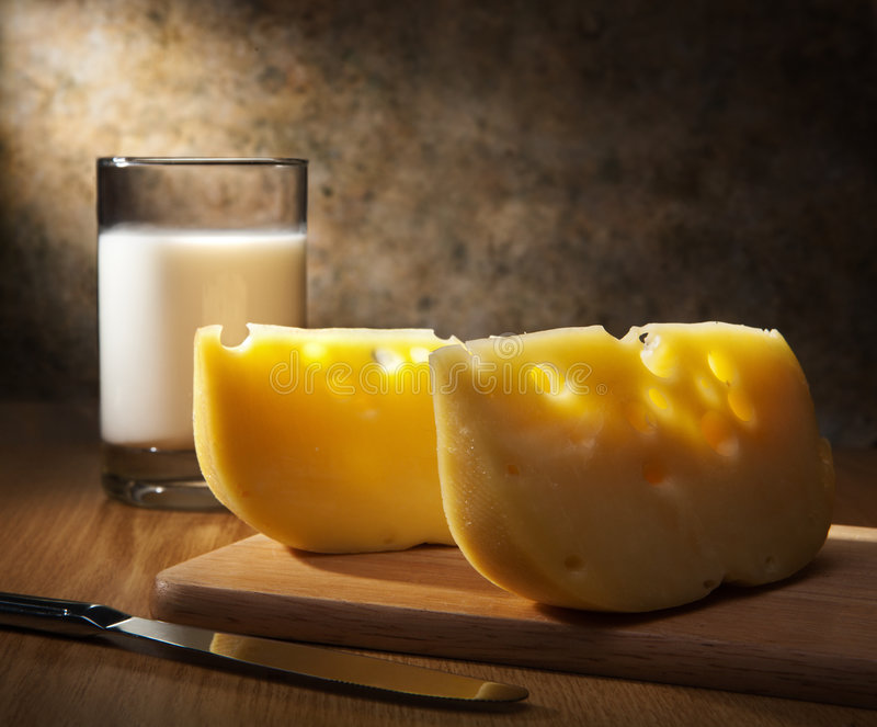 Cheese and milk royalty free stock images