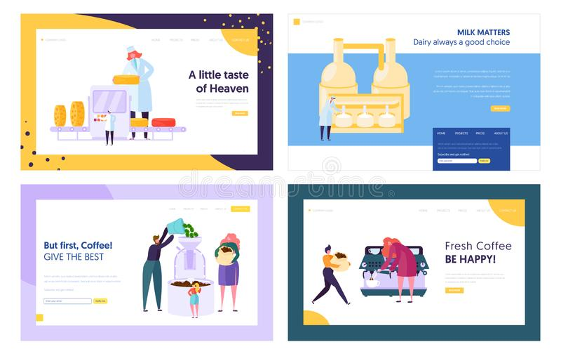 Cheese and Milk Products Manufacture, Frying and Making Coffee Website Landing Page Templates Set. Dairy Production Industry. Beverage, Coffee Machine Web Page stock illustration