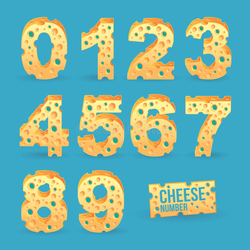 Cheese number alphabet set. Vector illustration royalty free illustration