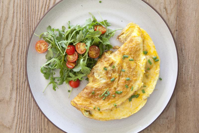 Cheese Omelet with a Salad royalty free stock photos