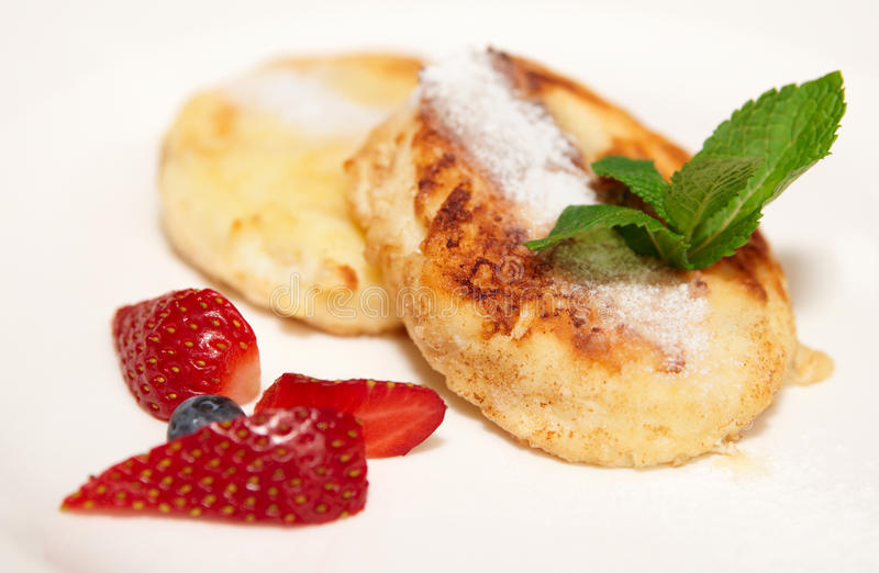Download Cheese Pancakes On White Plate, Close-up Stock Photo - Image: 18538808