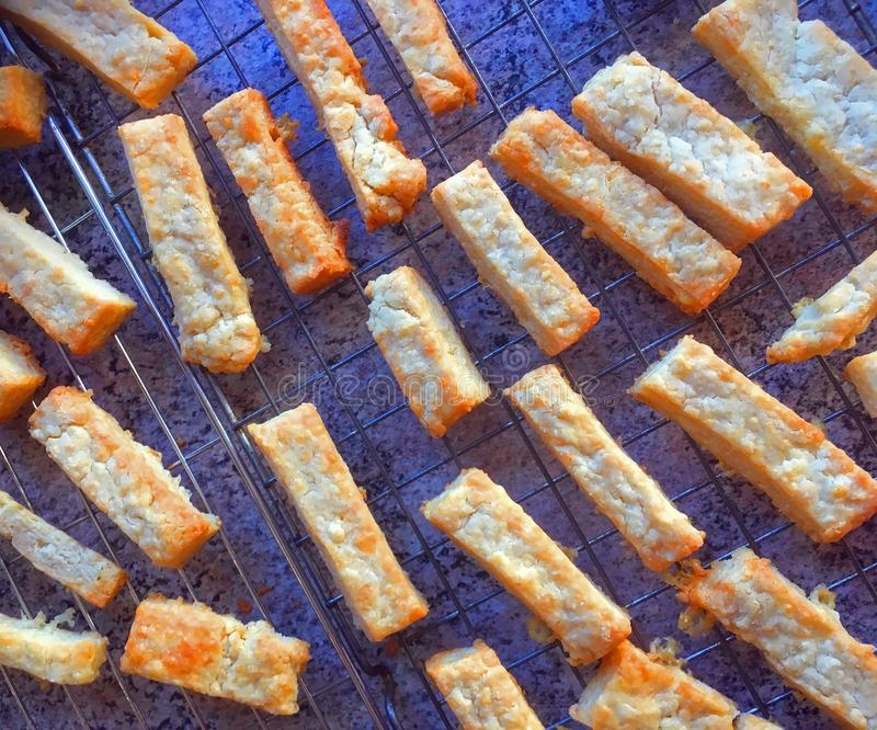Cheese pastry straws. Home baking. stock photo