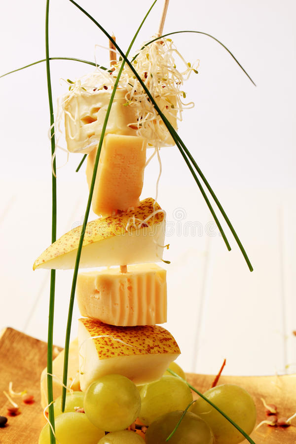 Cheese And Pear Skewer Royalty Free Stock Photography