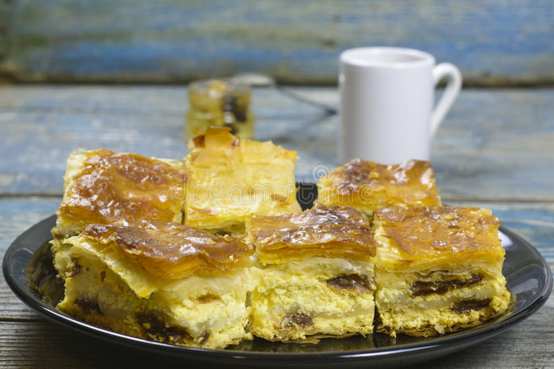 Cheese pie and coffee stock images