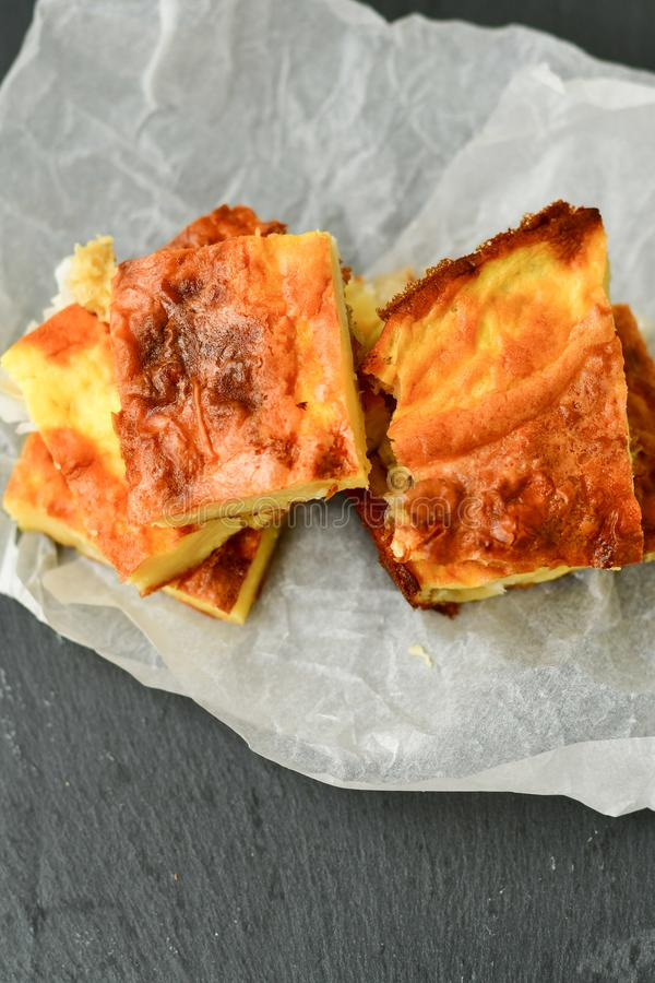 Cheese pie. Homemade puff cheese pie with filo pastry and organic free-range eggs stock photo