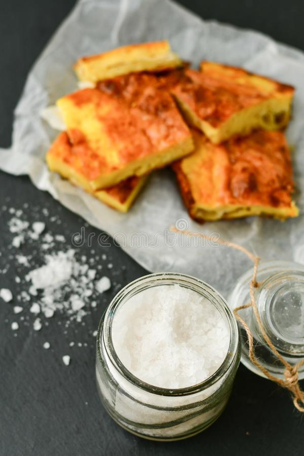 Cheese pie. Homemade puff cheese pie with filo pastry and organic free-range eggs stock image