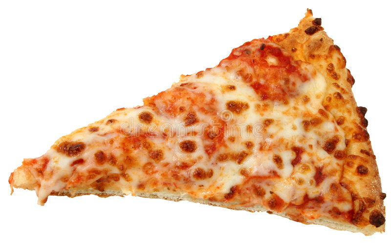 Cheese Pizza Slice Over White Background royalty free stock photos