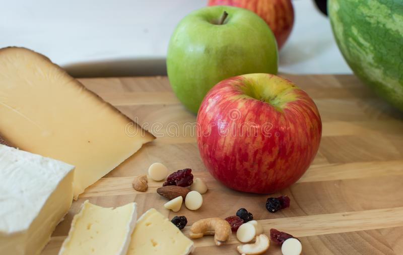 Cheese plate with Apples royalty free stock image