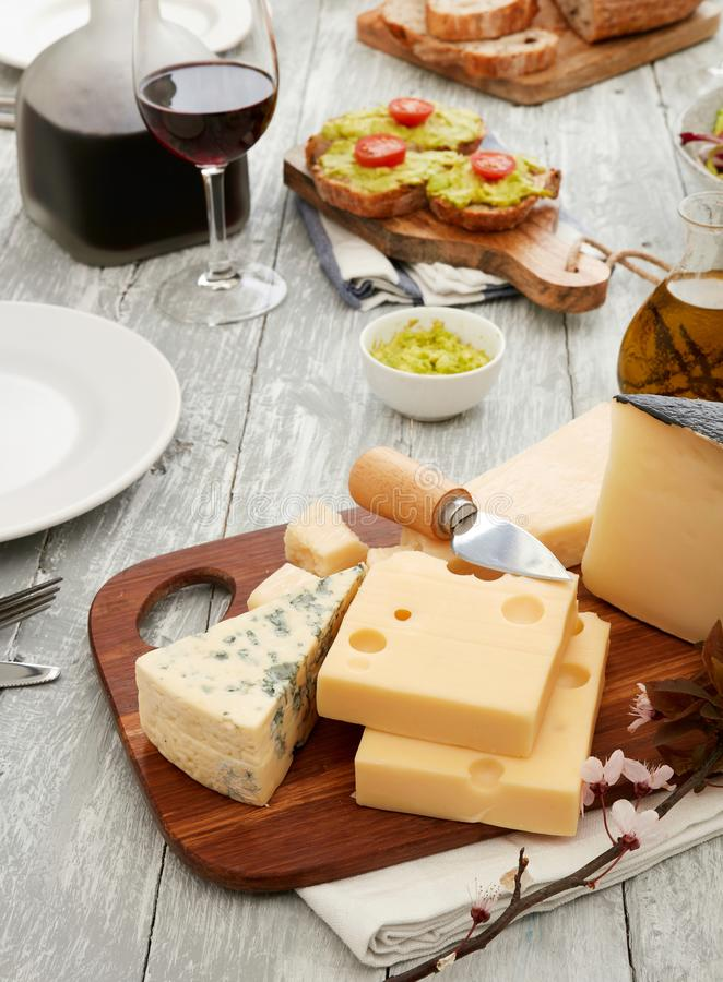 Cheese plate closeup stock photo