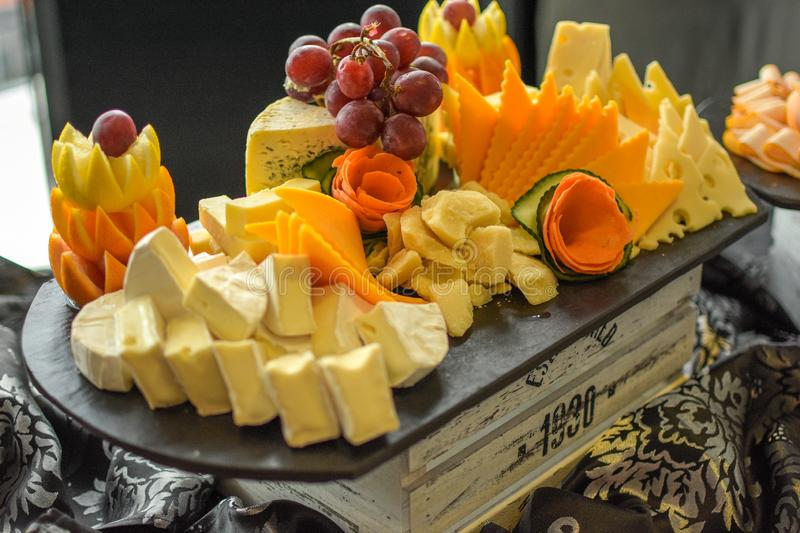 Cheese platter with all kind royalty free stock photo