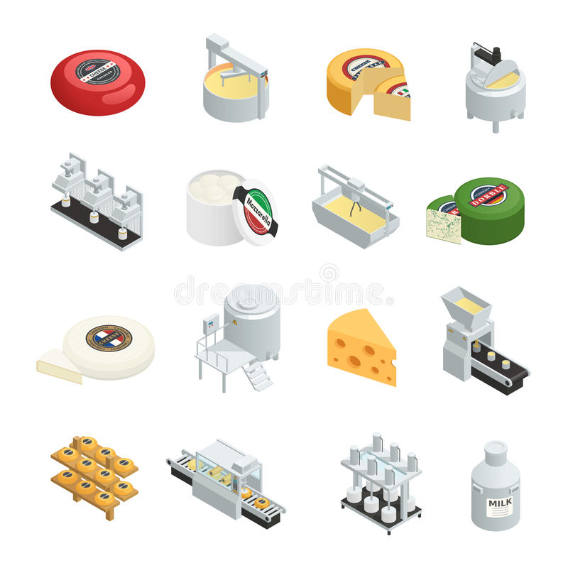 Cheese Production Isometric Icons Collection royalty free illustration