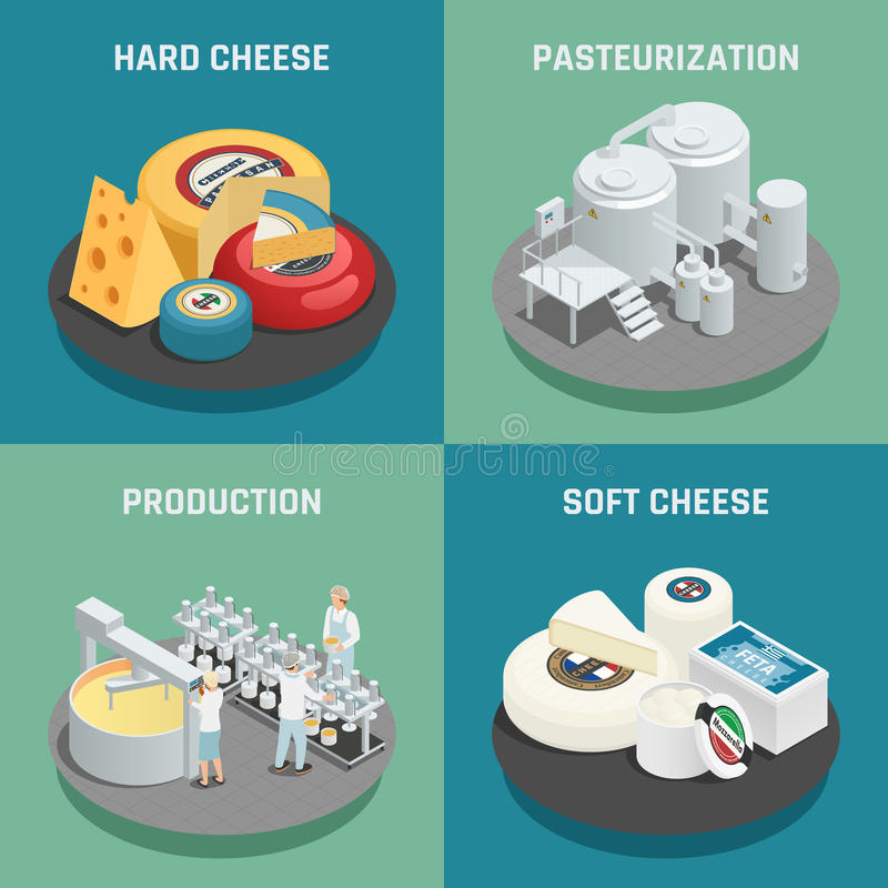 Cheese Production Isometric Icons Concept vector illustration