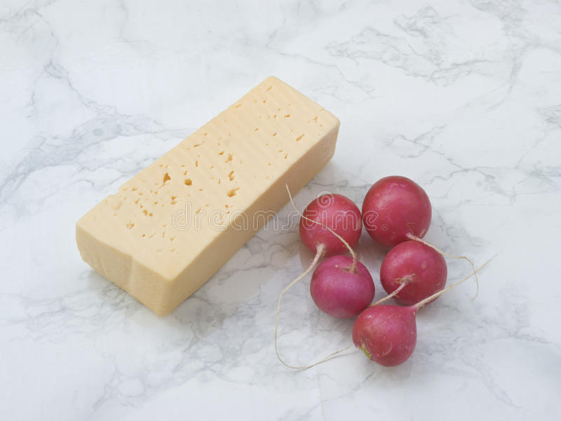 Cheese and radishes stock photography