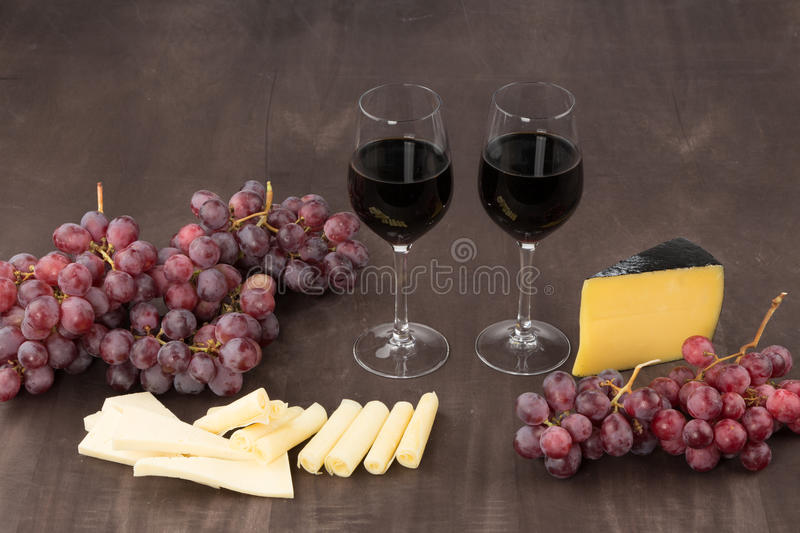 Cheese and red wine royalty free stock images