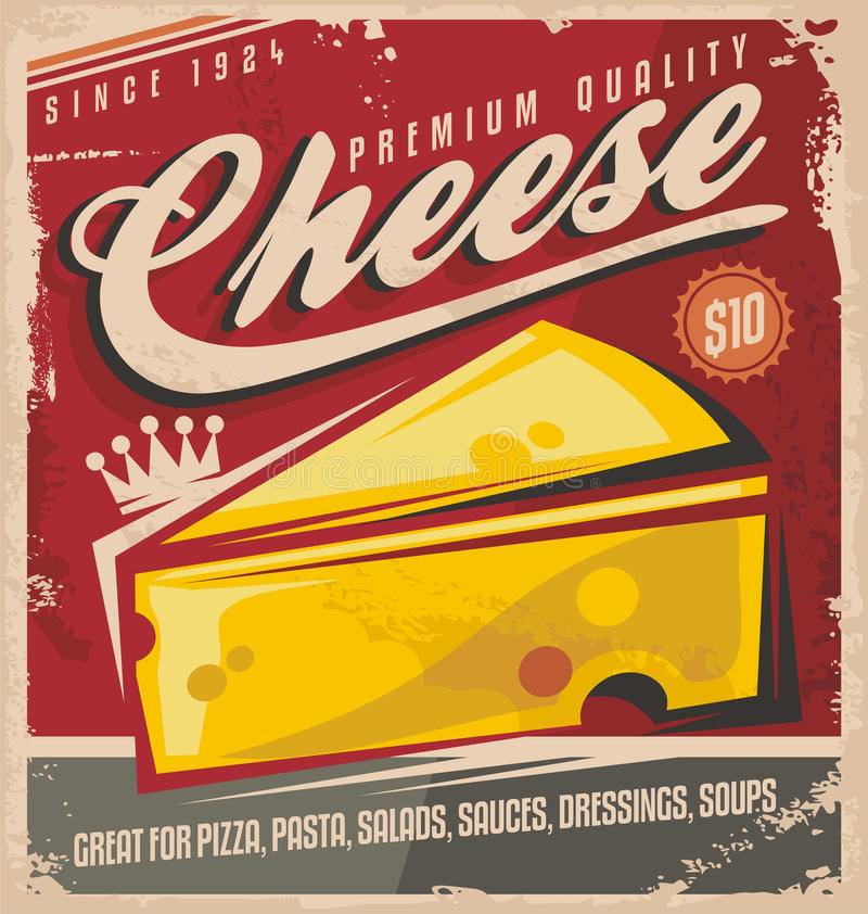 Cheese retro poster design royalty free illustration