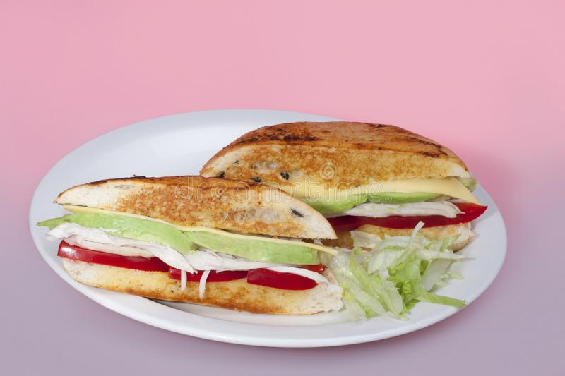 Cheese salad sandwiches on plate stock image